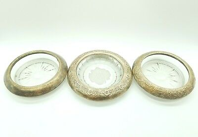 Lot of 3 Different Vintage Sterling Silver Glass Coaster Ashtray International