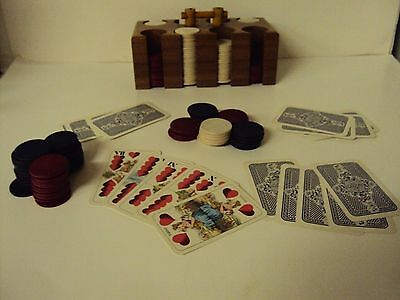 VINTAGE wood Poker Chip  CADDY CARDBOARD COVER w/ Doppeldeutsche 33 Blatt Deck