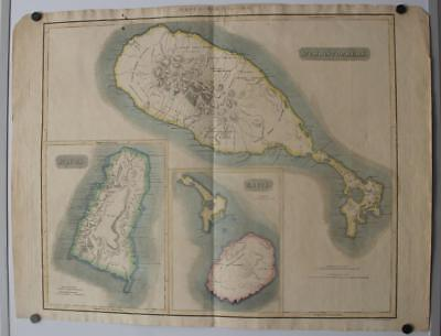 St. Kitts St. Lucia & Nevis Islands West Indies 1817 John Thomson Antique Map