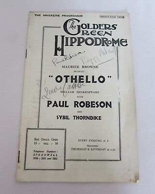 Signed Programme OTHELLO London 1930 Paul Robeson Peggy Ashcroft Sybil Thorndike