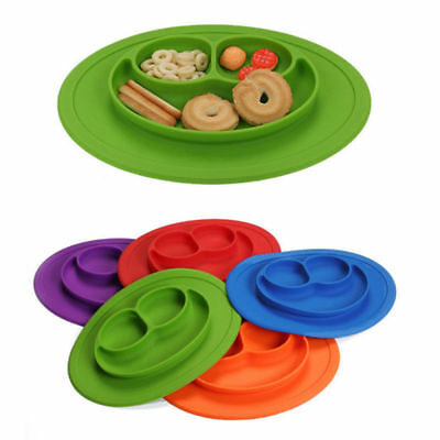 Smile One-Piece Silicone Placemat Plate Tableware Mat Baby Kid Food Dish Tool #1