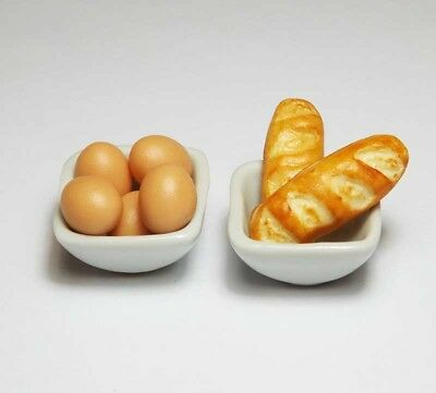 Dollhouse Miniature Food in Ceramic Bowls * Doll Mini Food Baguette Eggs Bowl