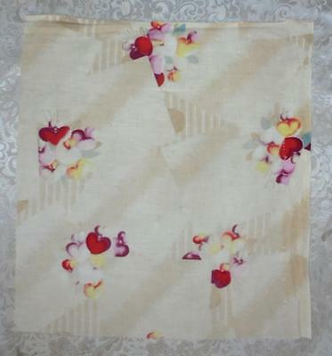 BEAUTIFUL FRAGMENT c1930s CENTURY FRENCH  COTTON PRINT, HEARTS, REF 1.