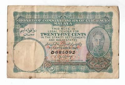 1940 King George VI 25 Cents Straits Settlements Singapore Malaya Banknote