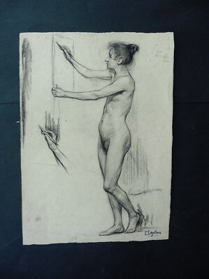 FRENCH SCHOOL 19thC - SUPERB STUDY FEMALE NUDE SIGN. LEGUILLOUX - CHARCOAL