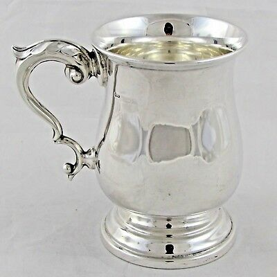 Superb Georgian Style Solid Sterling Silver Baluster Mug Tankard 1963 173 G