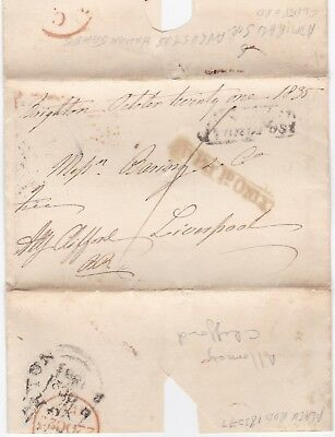 # 1835 BRIGHTON PENNY POST WRAPPER TO PAY 1d ONLY FRANKED CLIFFORD - BLACK ROD