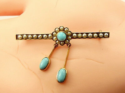VICTORIAN 9ct Gold Seed Pearl & Turquoise Brooch/Pin Perfect Conversion PENDANT