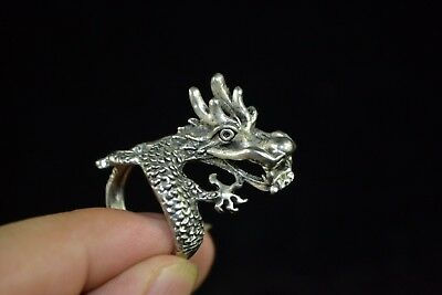 Collectible Culture Style handwork tibet silver Relief myth dragon rare man Ring