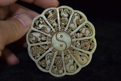 Vintage Collectible Old jade Hand-carved chinese culture 12 zodiac rare Pendant