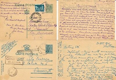 Romania 1938 & 1941, Unchecked Lot Of 2 Wwii Censored Stationery Cards.   #d1521