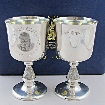Superb Cased Pair Vintage Solid Sterling Silver Winston Churchill Goblets 1973