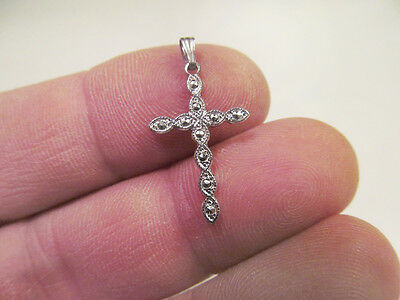 *Vintage Tiny Sterling Silver Cross Pendant with Marcasites 7/8""