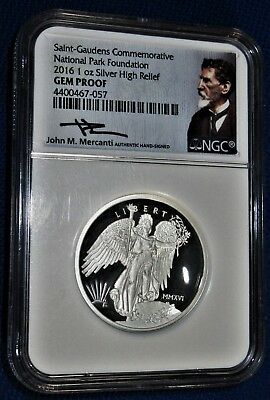 NGC GEM 2016 US MINT Issued HIGH RELIEF ST. GAUDENS Commemorative SILVER MEDAL