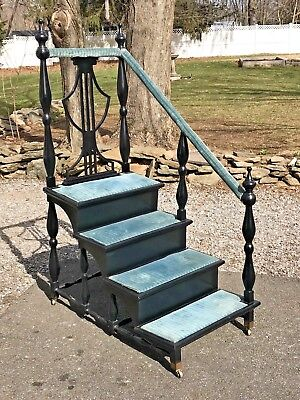 Antique Georgian Shield Back LIBRARY STEPS STAIRS Shelf On Casters