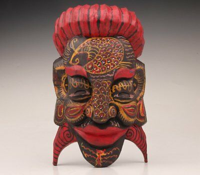 Old Wood Sculpture Painting Chinese Folk Exorcising Mask Statue Old Collection