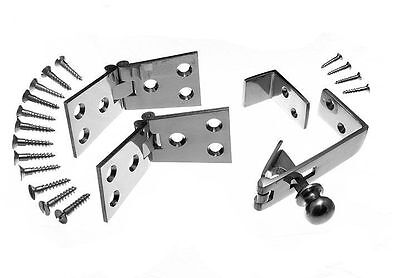 New 2 Pair Chrome Counter Flap Hinges 1 1/4 Inch X 4 Inch & Counter Catch