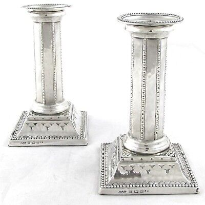 Superb Rare Arts Crafts Solid Sterling Silver Candlesticks Liberty & Co 1920