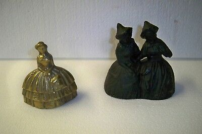 Vintage pair of bells cast iron double women witches & brass southern belle