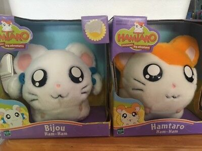 Hamtaro Plush Ham-Ham Bijou Lot of 2 2002 Hasbro NEW NIB Japan Hamster
