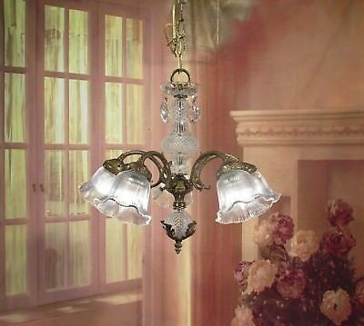 Antique Vintage  French Chandelier Bronze Down Light Crystal Halophane Shades