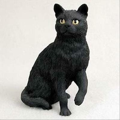 Black Cat Sitting Hand Painted Canine Collectable Figurine Statue