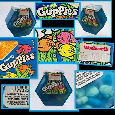 Vintage 1989 Sunline Willy Wonka GUPPIES Fish Tank Candy Container bubble gum