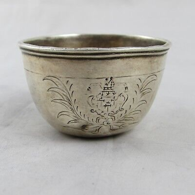 Rare Antique 18Th Century Silver Tumbler Cup Probably German Milled Coin Edge