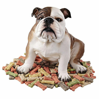 Realistic Life Like English Bulldog Statue Puppy Dog Animal Sculpture NEW