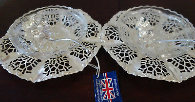 pair silver plated preserves dishes and spoon
