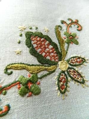 Vintage white Irish linen hand embroidered tablecloth in Jacobean style