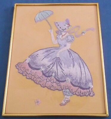 Vintage Hand Embroidered Picture Panel Crinoline Lady Lavender Exquisite