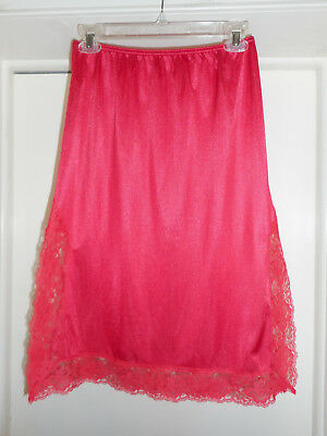 """WOW 25"""" Vintage Cherry Red Sheer Lace on Double Side Slits Nylon Half Slip L ?"""