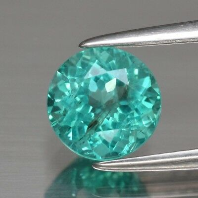 1.13ct 6.4mm Round Natural Unheated Paraiba-Color Neon Blue Green Apatite