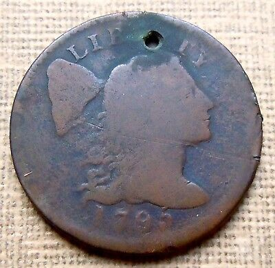 1795 Plain Edge LIBERTY CAP LARGE CENT DAMAGE (Holed)