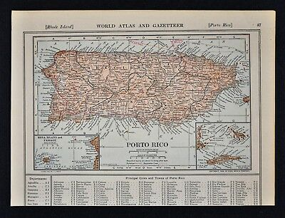 1914 Poates Map - Porto Rico - Puerto Rico - San Juan - Mona Crab Virgin Islands