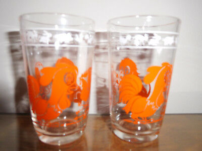 Vintage 50s Swanky Swig Kiddie Kups Kraft Foods Animal Juice Glasses TWO ORANGE