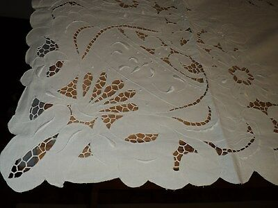 "ANTIQUE HAND CUT IVORY LINEN TABLE CLOTH (100"" x 60"") - EXQUISITE - NEVER USED"