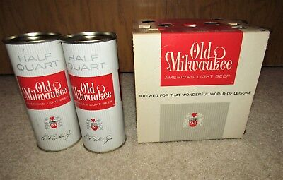 OLD MILWAUKEE beer 16 oz 1962 FLAT TOP CANS in 6 pack holder air-filled