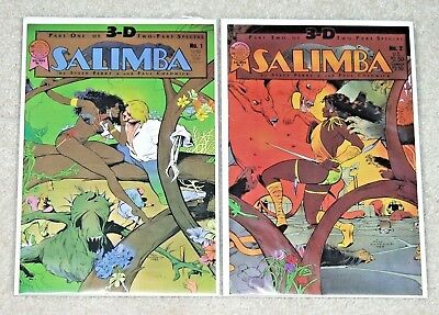 SALIMBA 3-D #1 and #2  Blackthorne 1986 - Glasses Included - VF/NM