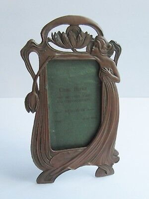 Art Nouveau Metal Picture Frame Maiden & Waterlily