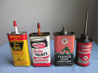 Vintage Oilers Lot (4) Texaco Home Lubricant Lead Top & Outers & True Value No R