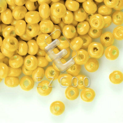30g(800pcs About) Yellow Round Wood Beads Spacer Jewelry Making 3x4mm HCWB2