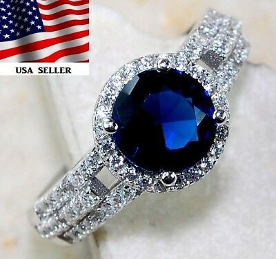Blue Sapphire & White Topaz 925 Solid Sterling Silver Ring Jewelry Sz 9