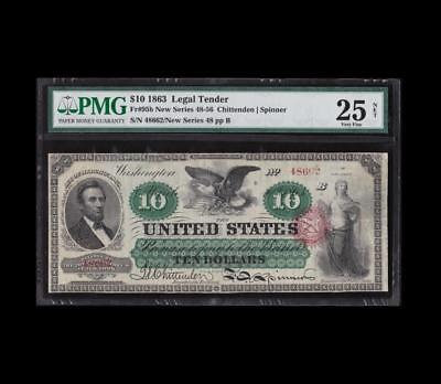 Extremely Rare 1863 $10 Legal Tender Lincoln Pmg Appt. Very Fine
