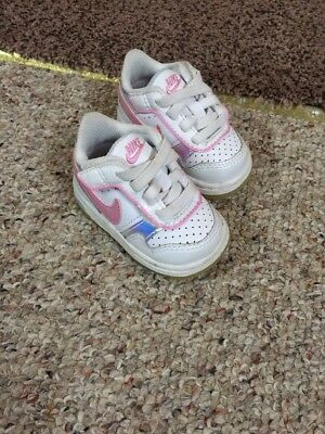 Vintage Nike White Pink Size 2c Toddler Baby Sneakers Shoes Velcro Crib Girls