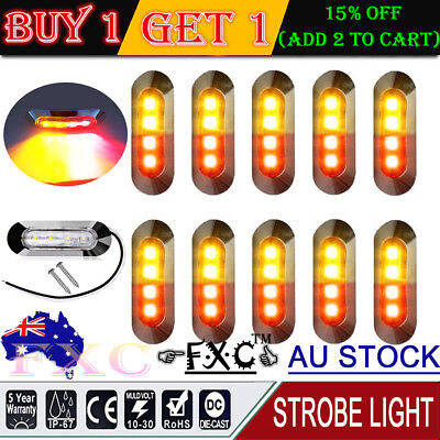 10X Amber/Red Clearance Lights Side Marker 4 LED Trailer Truck Caravan AHY STOCK