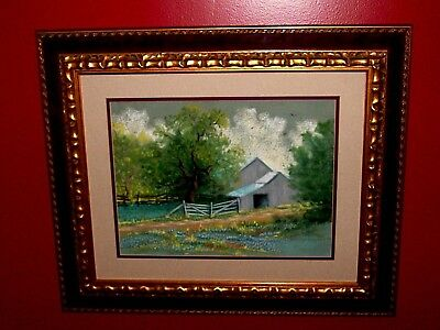 VINTAGE ORIGINAL Listed Marilyn Dannels Pastel Bluebonnets Barn Trees Landscape
