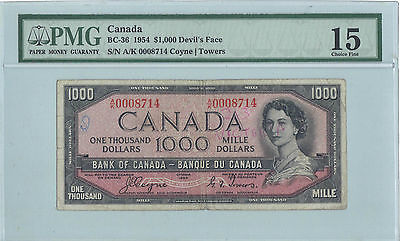 Bank Of Canada 1954 Complete Sets $1 Through $1000  Devils Face & Modified