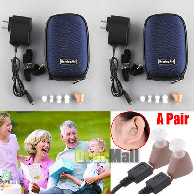 ONE PAIR Rechargeable Digital Mini In Ear Hearing Aid Adjustable Tone Amplifier